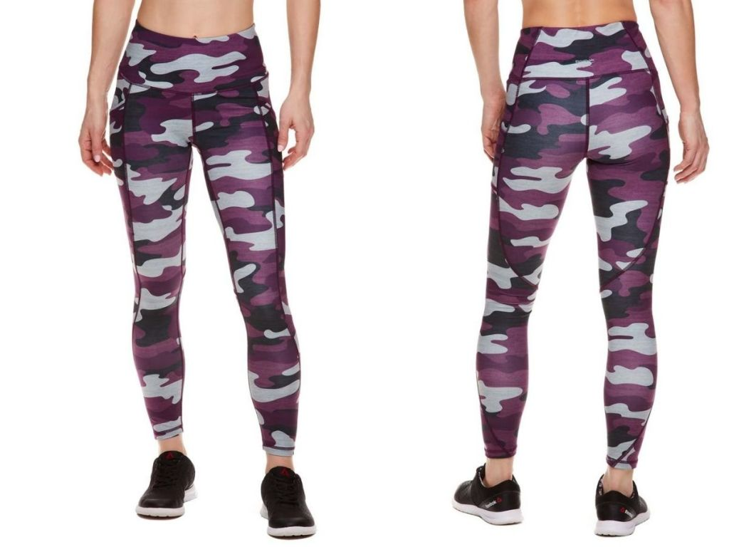 front and back view of purple and gray camo leggings