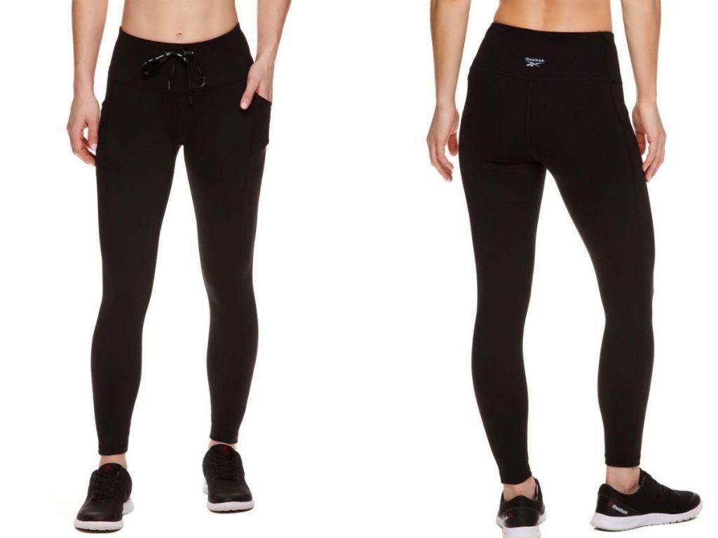front and back views of Reebok black leggings