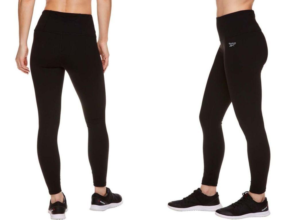 back and side view of black reebok leggings