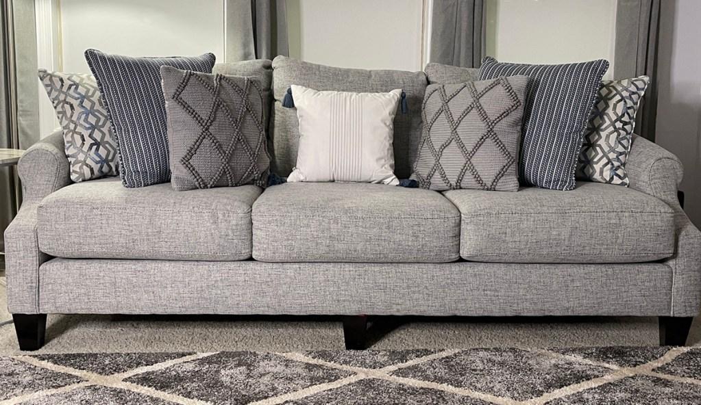 sofa with target pillows
