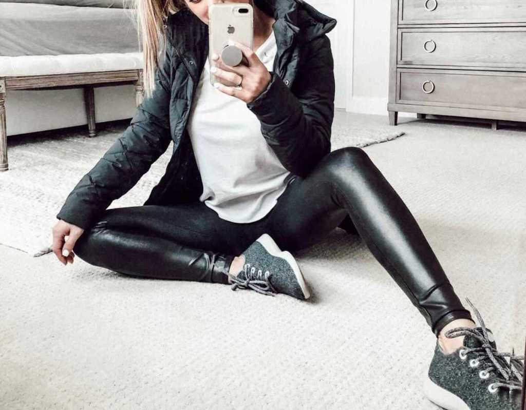 woman wearing black faux leather leggings for nordstrom anniversary sale