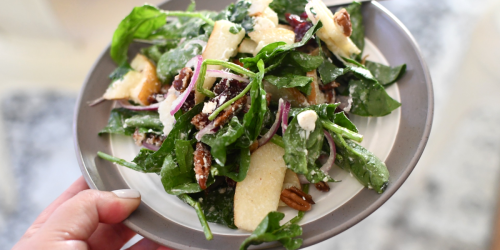 Spinach Salad with Goat Cheese and Homemade Pear Dressing