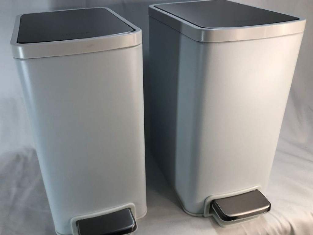white stainless steel trash bins