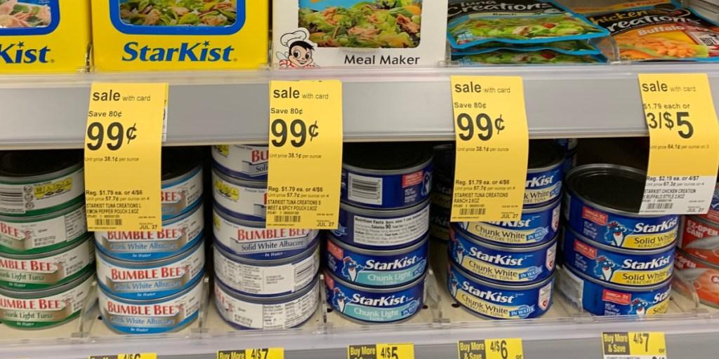starkist tuna cans on shelf