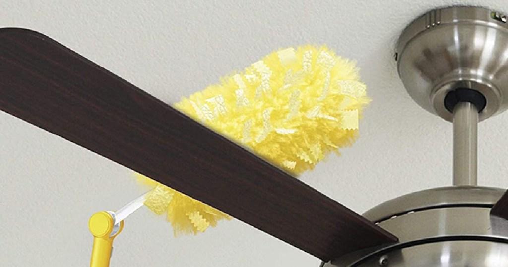 swiffer cleaning a fan
