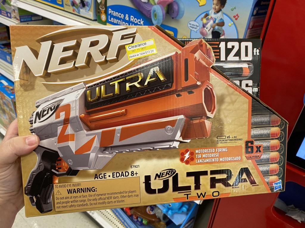 nerf gun at target
