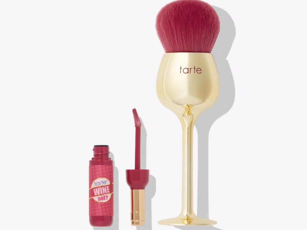blush wine set and lipgloss