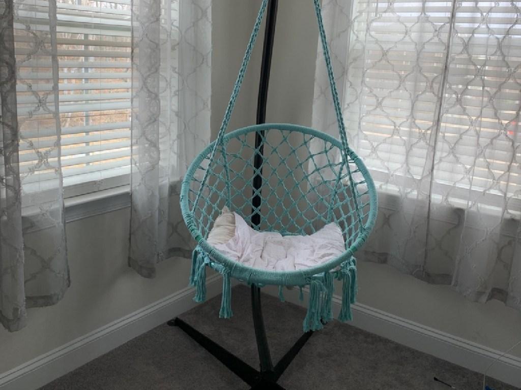 teal macrame hammock swing chair