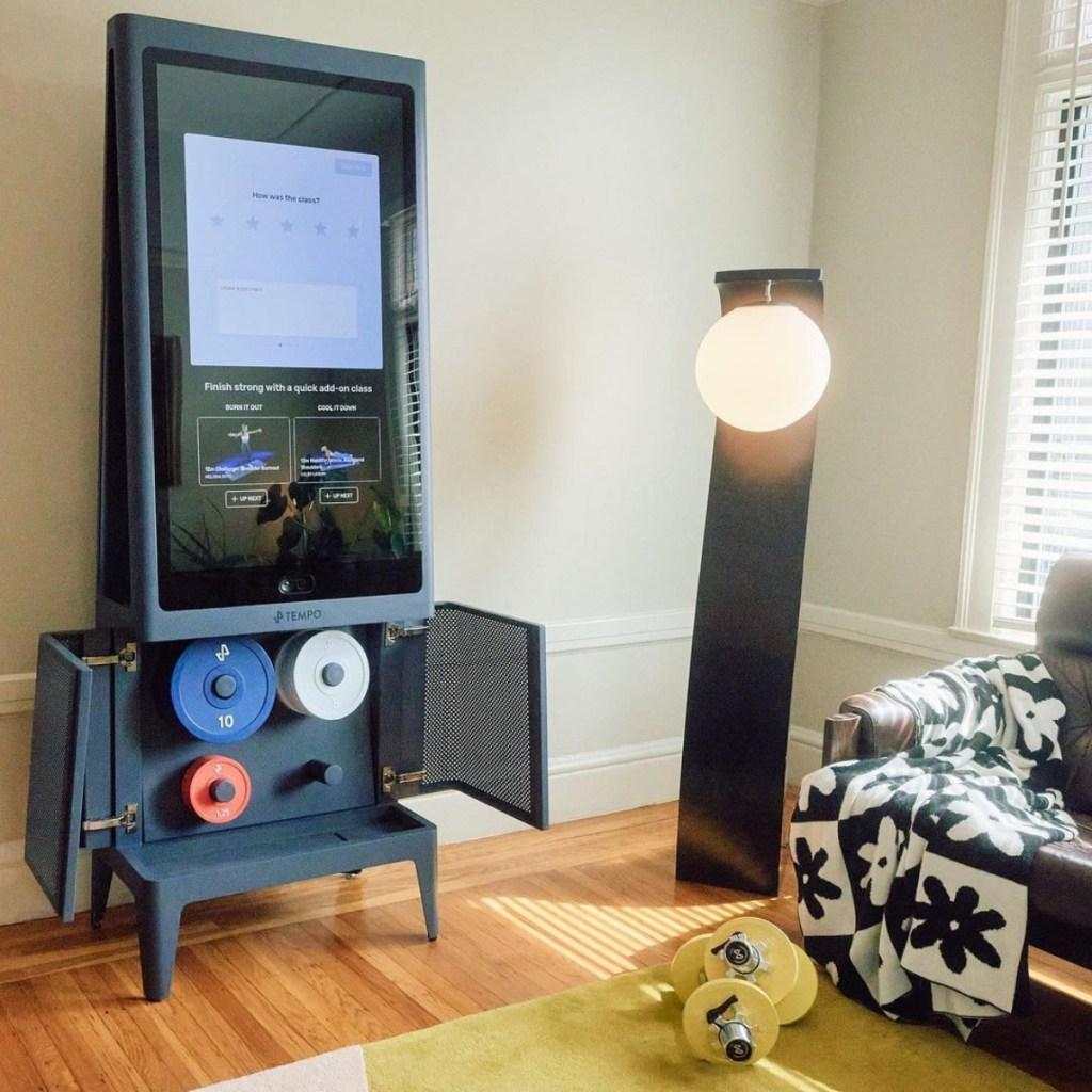 tempo studio fitness mirror in living room