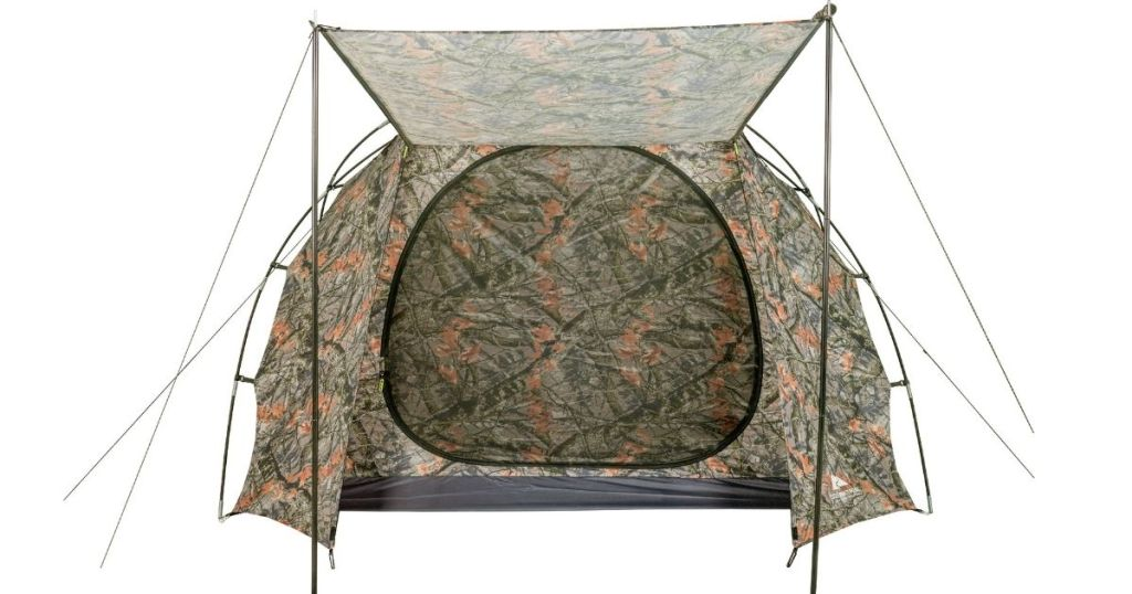 camo tent with awning