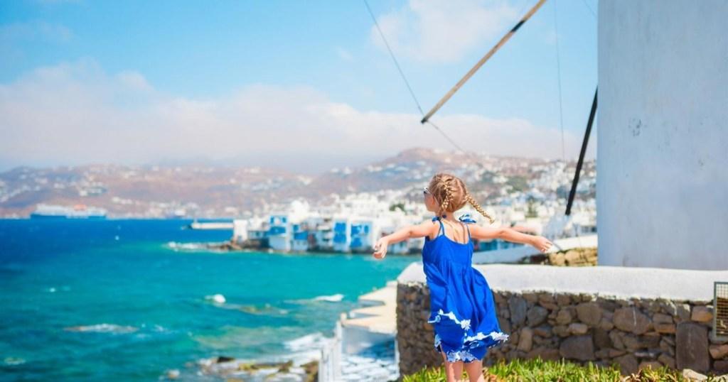 child overlooking Mediterranean Sea