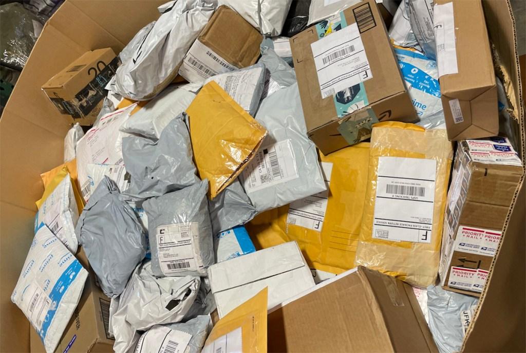 unclaimed mail in bin