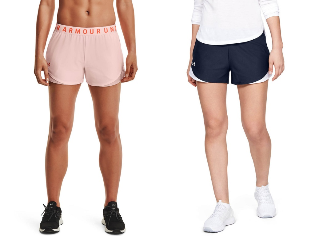 women wearing pink and blue under armour shorts