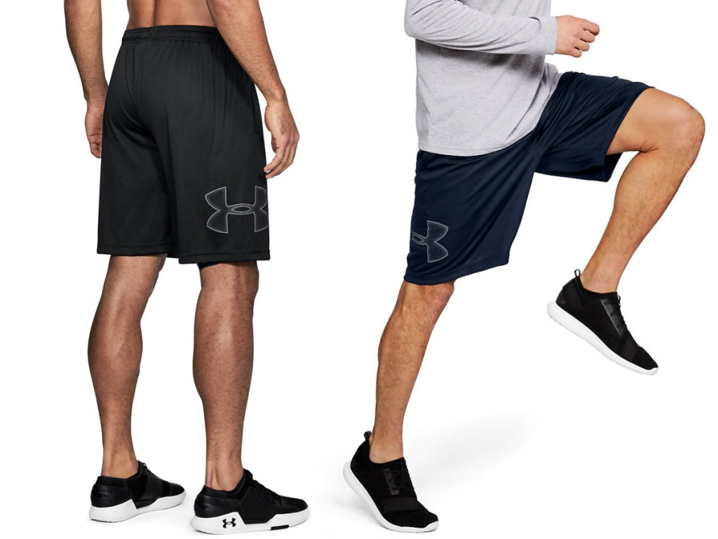 men wearing black and navy Under Armour shorts