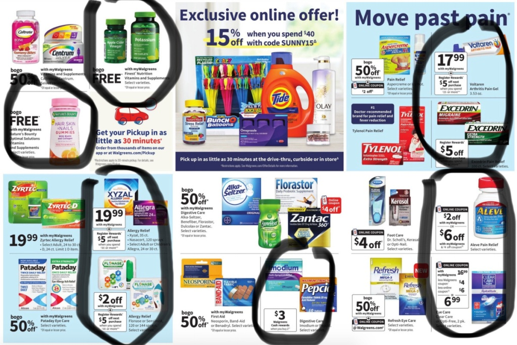 health items circled in walgreen ad