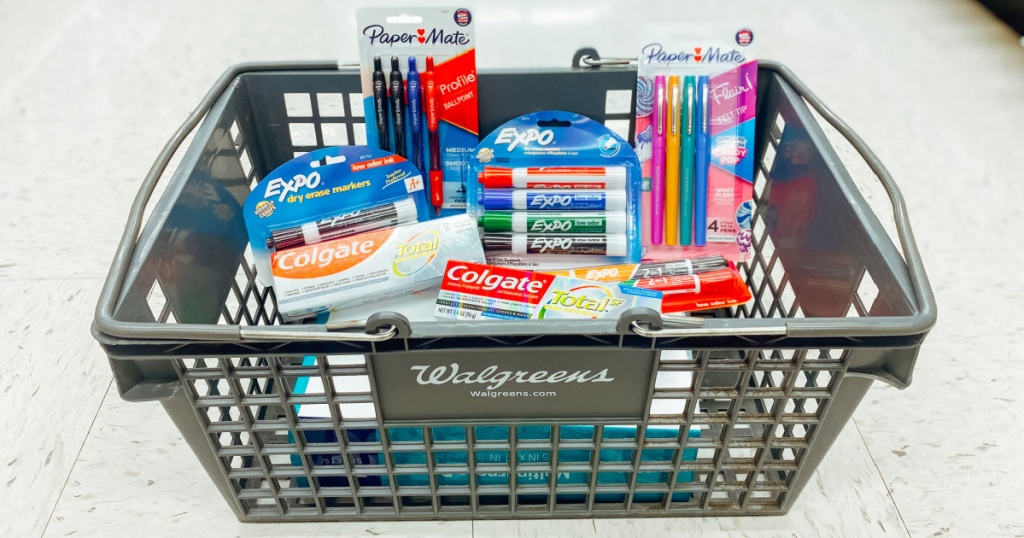 walgreens school supplies in basket