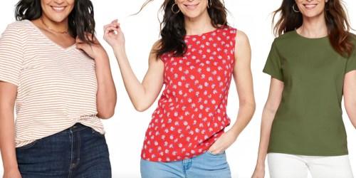 Women's Basic Tees & Tanks from $4.79 on Kohls.com (Regularly $16)