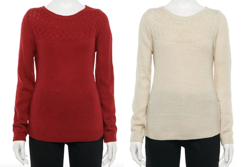 croft & barrow womens cable knit sweater