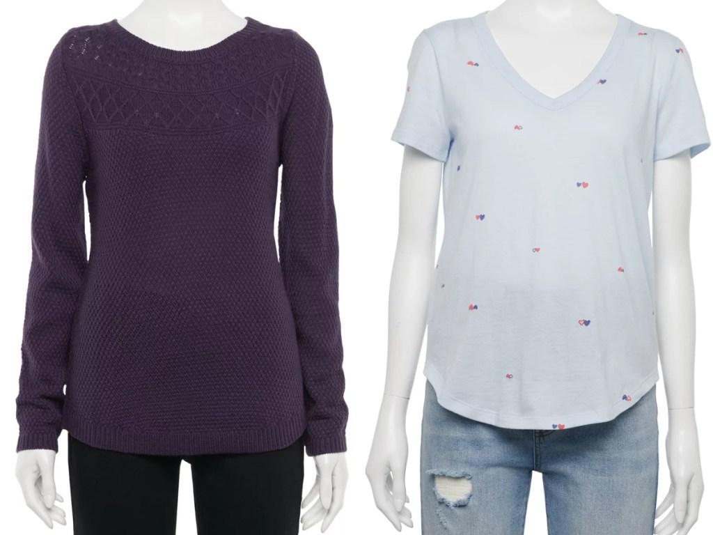 women's sweater and tee