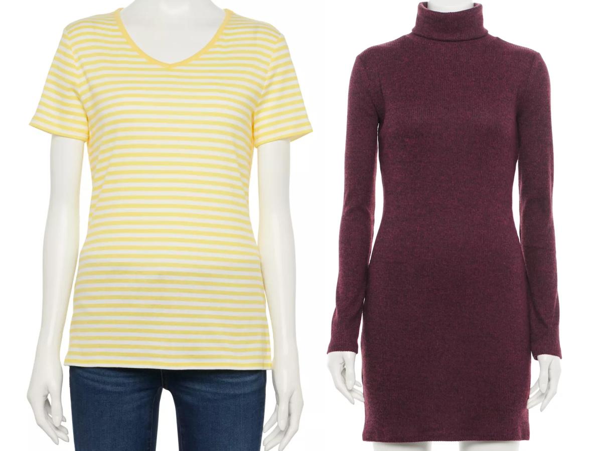women's tee and sweater dress