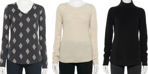 Up to 90% Off Women's Apparel on Kohls.com | Long-Sleeve Tees from $1.28, Sweaters from $2.40 & More