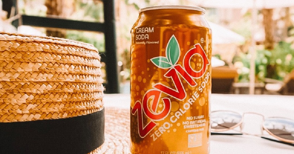 zevia cream soda can next to a hat