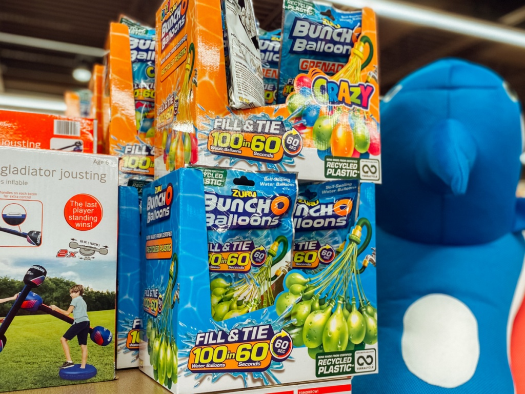 store shelf with water balloons on display