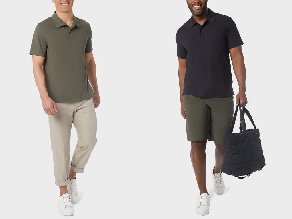 men wearing green and black polos
