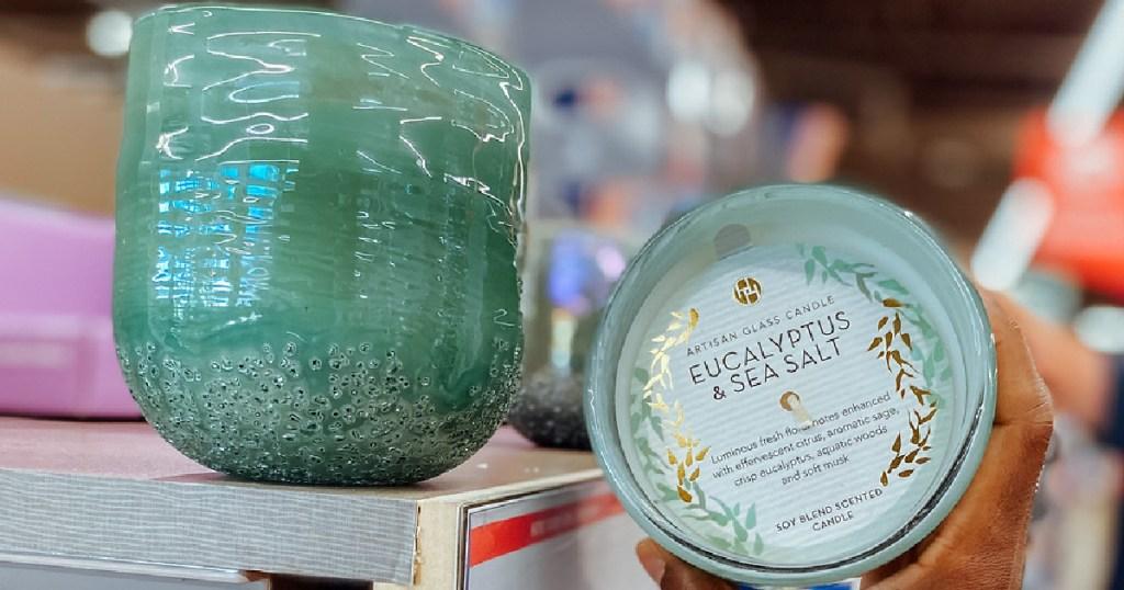ALDI artisan glass candles in Eucalyptus Scent