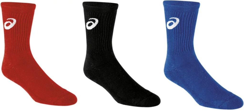 3 asics unisex crew socks