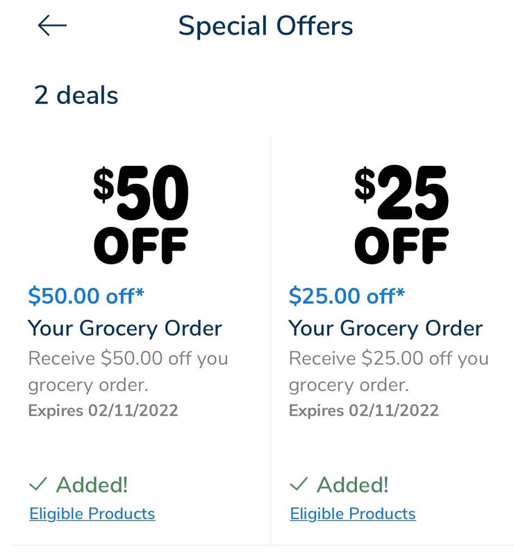 $50 and $25 digital coupons