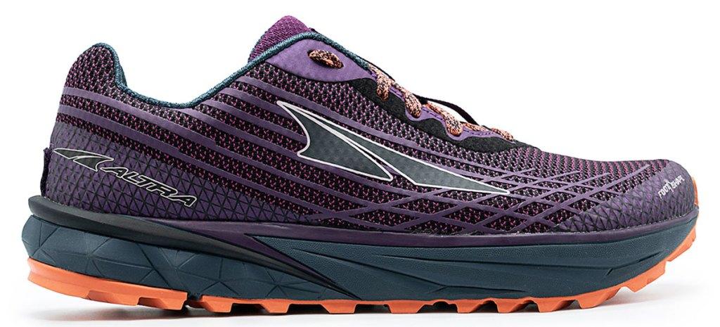 purple and orange running shoe