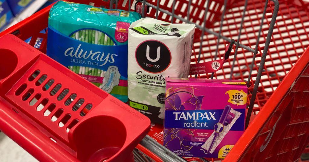 feminine care products on basket