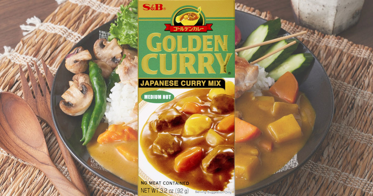 S&B brand curry seasoning in a box near plated dish