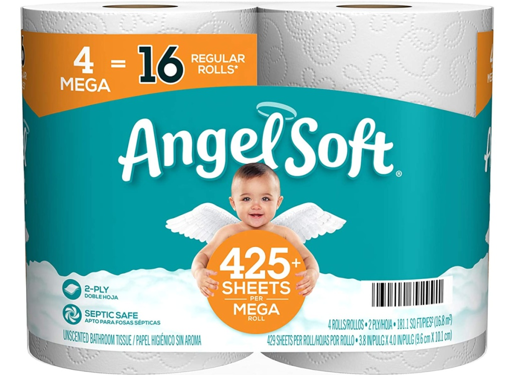Angel Soft Toilet Paper Bath Tissue 4-Count Mega Rolls