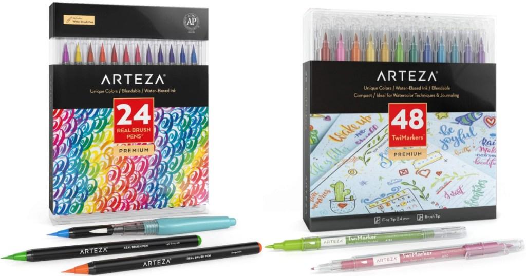 Arteza 24-Count Real Brush Pens and Arteza 48-Count Dual Brush Pens
