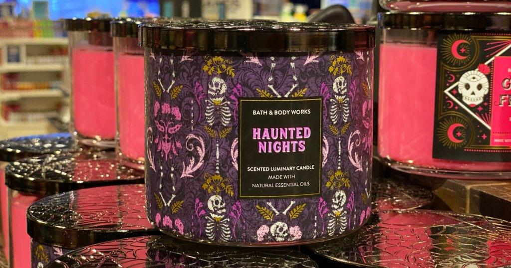 haunted nights bath & body works candle on display