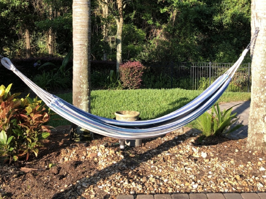 best choice products hammock hanging in yard