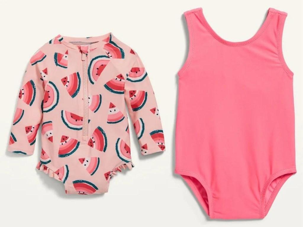 baby girl rashguard and one piece pink swimsuit