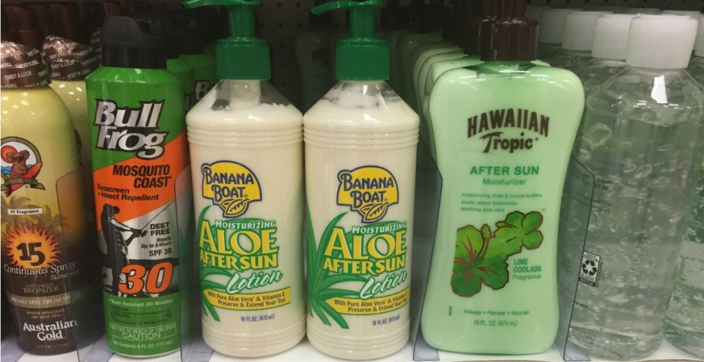 row of after sun lotions on a shelf