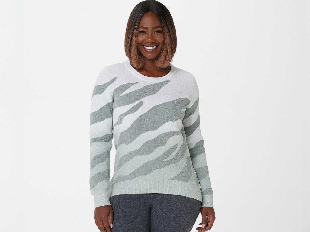 barefoot dreams zebra print sweater