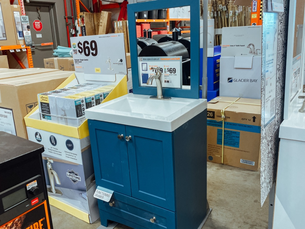 Bathroom Vanity and Faucet on display at home depot