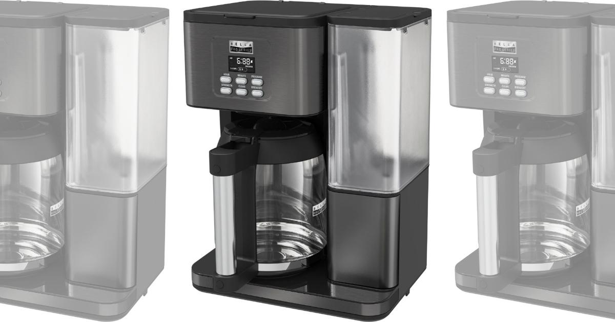Bella Pro Series 18-Cup Coffee Maker in Black Stainless Steel
