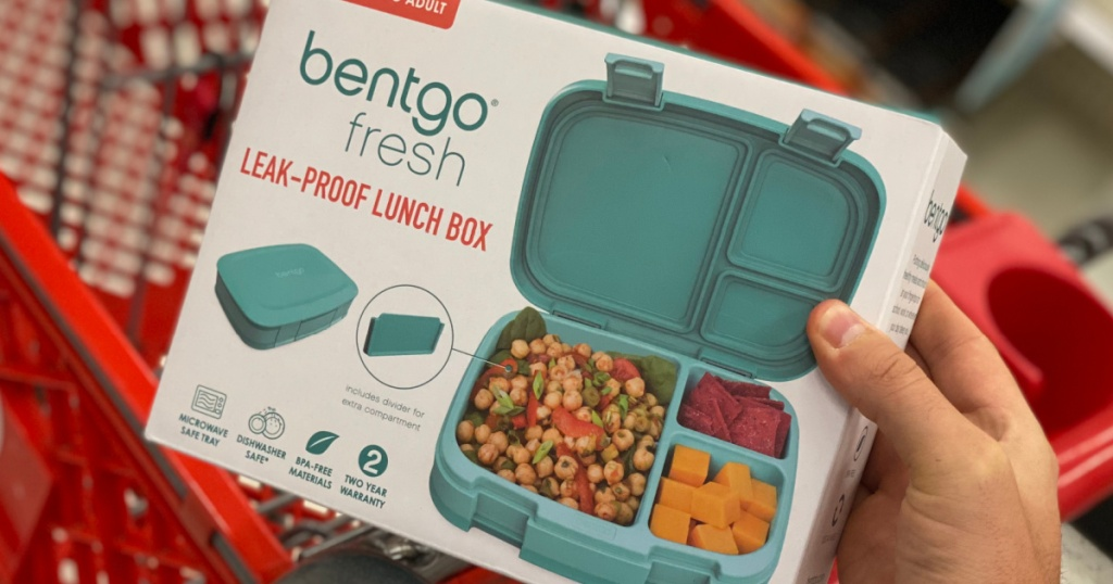 hand holding teal lunch kit