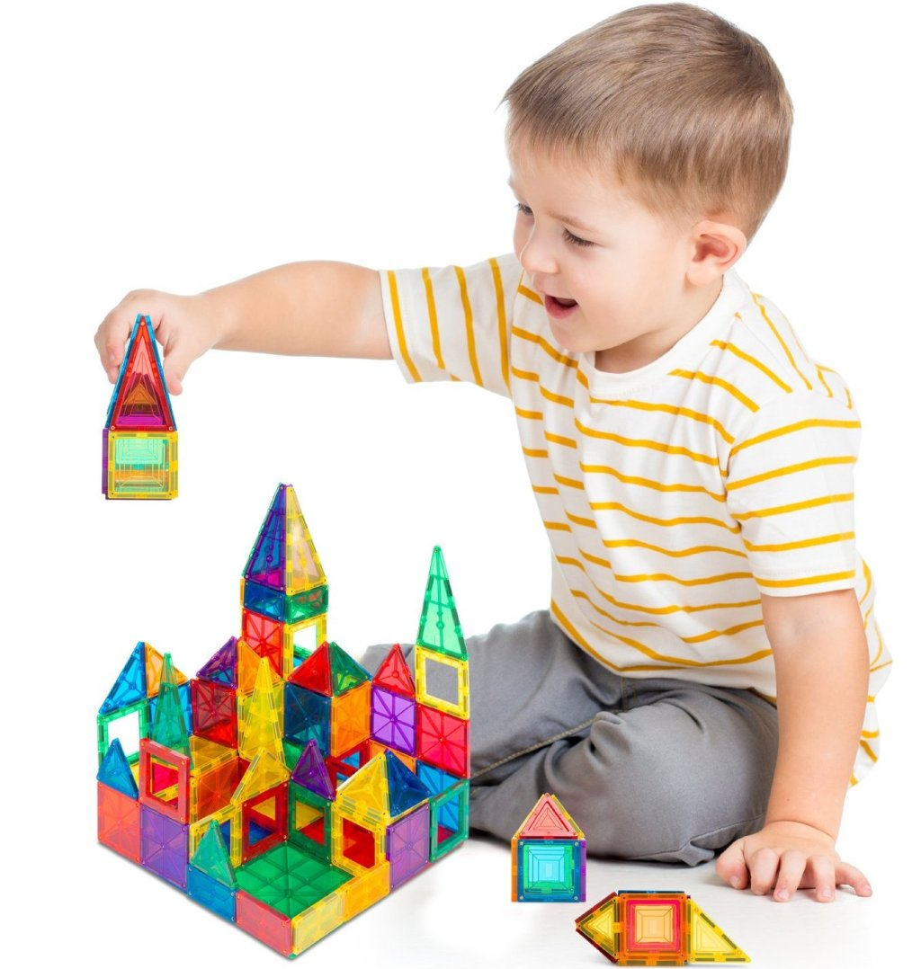 boy playing with Best Choice Magnetic Blocks