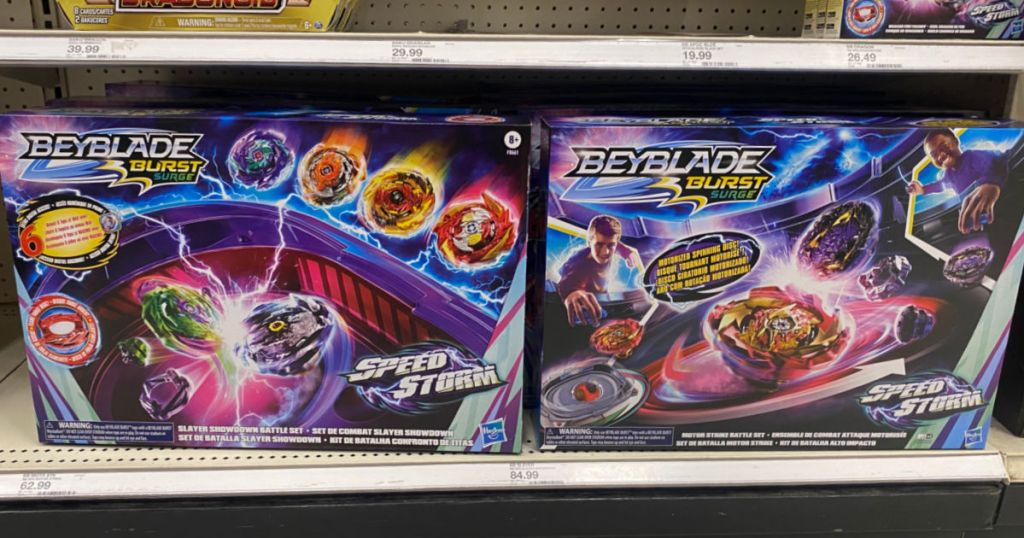two toy battle arenas on shelf