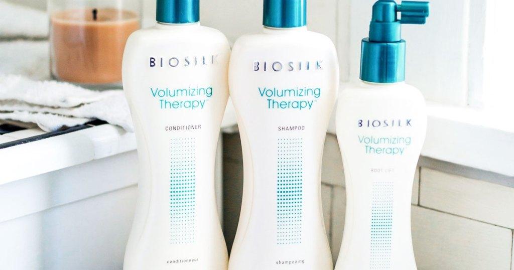 biosilk hair products in bathroom