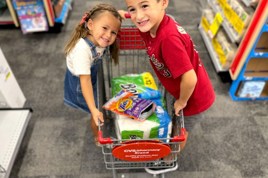 kids on CVS shopping cart