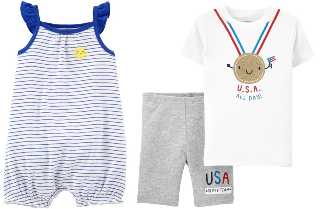carter's baby romper and pajamas