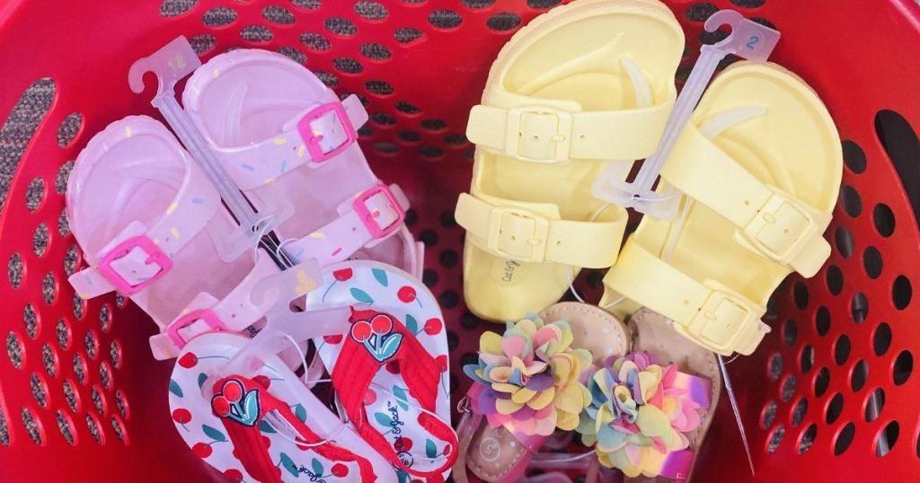 Cat & Jack Sandals in a Target basket